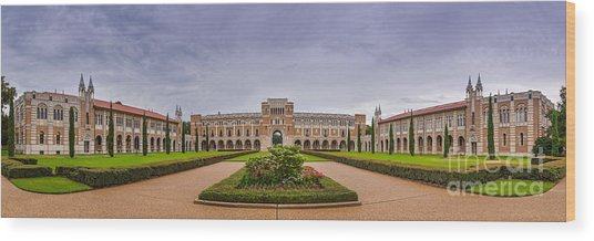 Panorama Of Rice University Academic Quad - Houston Texas Wood Print