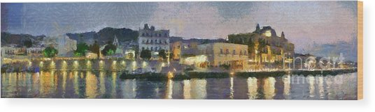 Panoramic View Of Spetses Town Wood Print