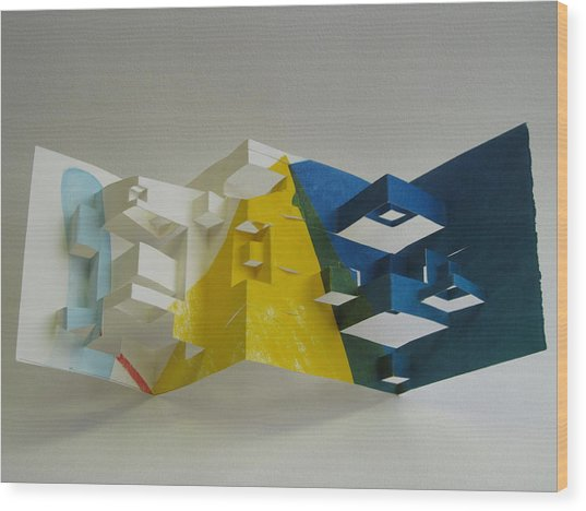 Paper Architecture Wood Print by Alfred Ng