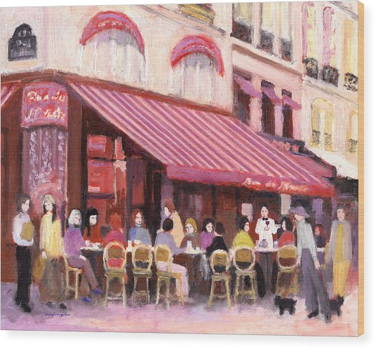 Paris Cafe Bar Wood Print