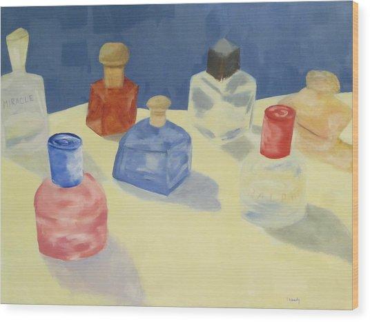 Perfume Bottles Wood Print