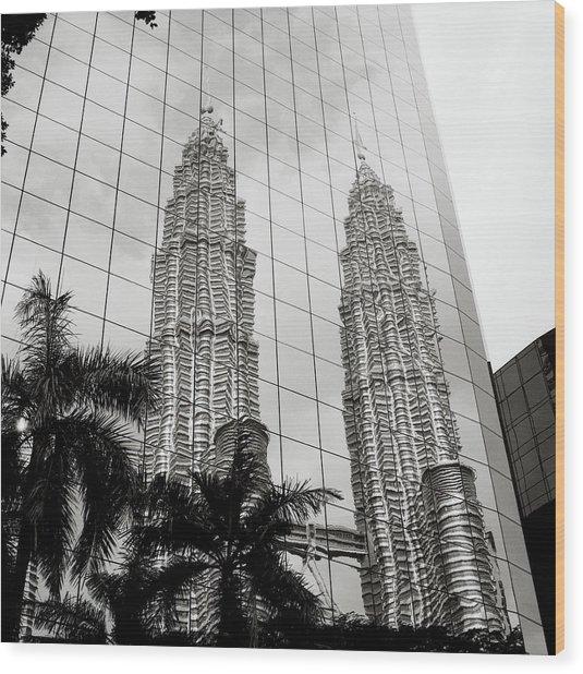Petronas Towers Reflection Wood Print