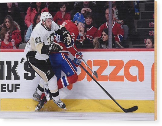 Pittsburgh Penguins V Montreal Canadiens Wood Print by Richard Wolowicz