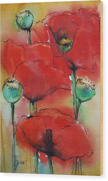 Poppies I Wood Print