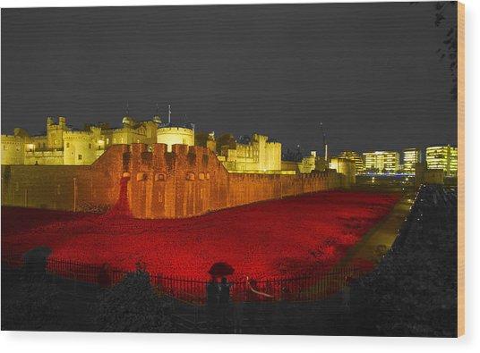 Poppies Tower Of London Night   Wood Print