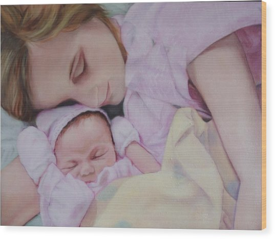 Portrait Of A Young Mother Wood Print