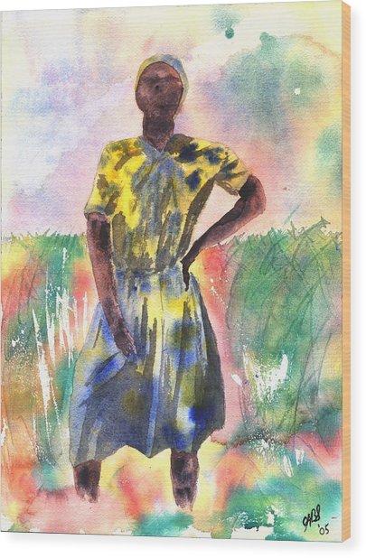 Proud Lady Wood Print by Joyce Ann Burton-Sousa