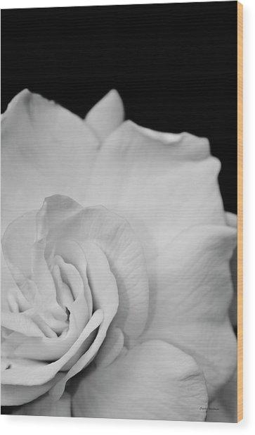 Black And White Flower Wood Print