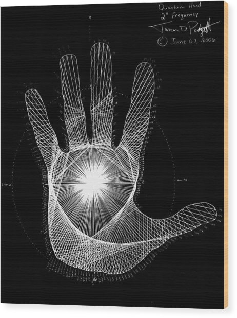 Quantum Hand Through My Eyes Wood Print