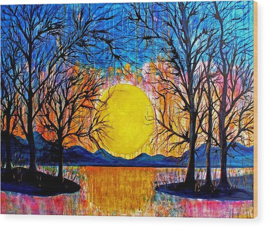 Raining Sunset Wood Print