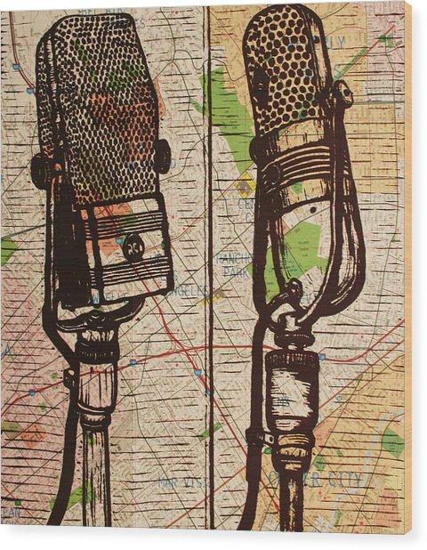 2 Rca Microphones Wood Print