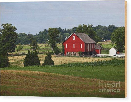 Red Barn Gettysburg Wood Print