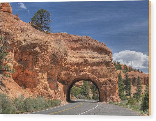 Red Canyon National Park Utah Road Tunnel  Wood Print