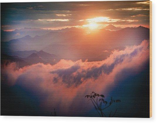 Red Sunset Himalayas Mountain Nepal Wood Print