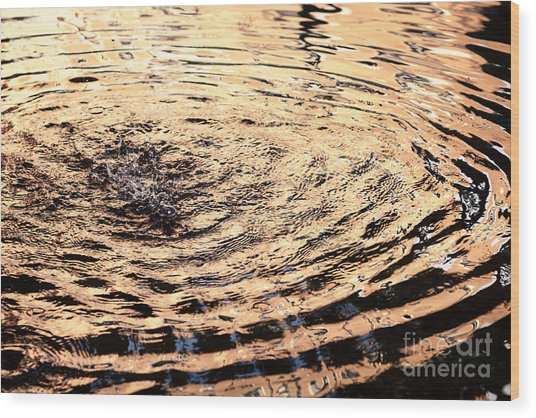 Ripple Reflection In Fountain Water Wood Print