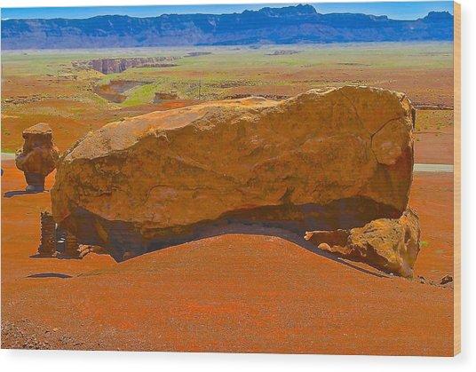 Rock Orange Wood Print