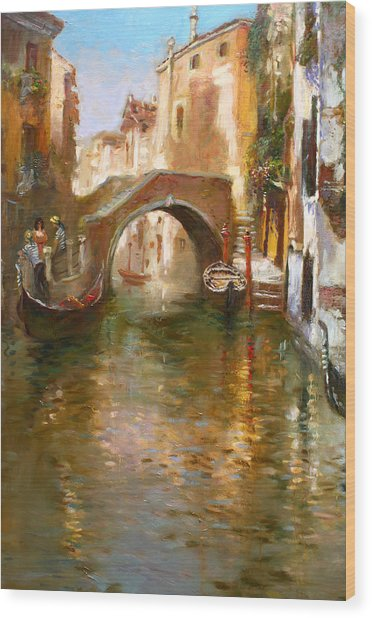Romance In Venice  Wood Print