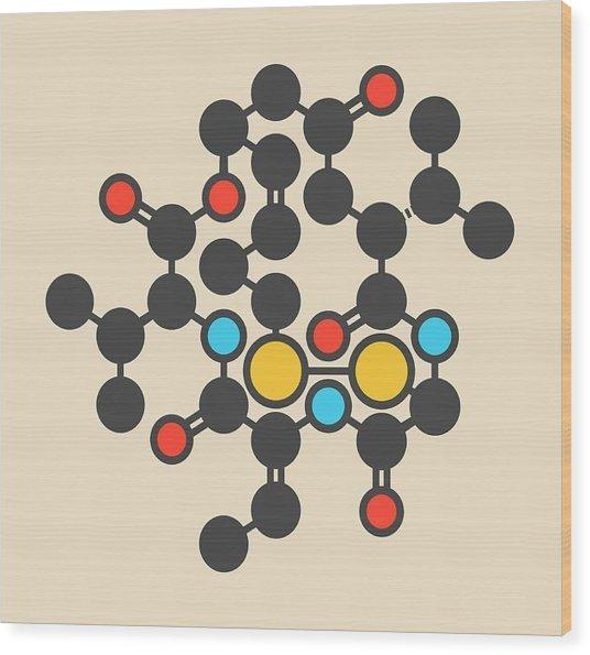 Romidepsin Cancer Drug Molecule Wood Print