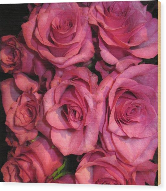 Rosebouquet In Pink Wood Print