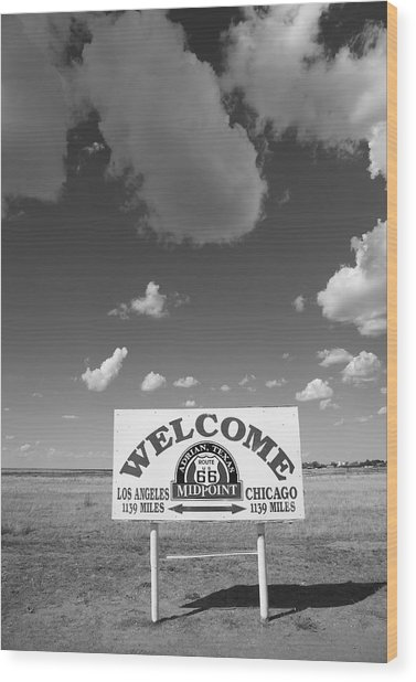 Route 66 - Midpoint Sign Wood Print