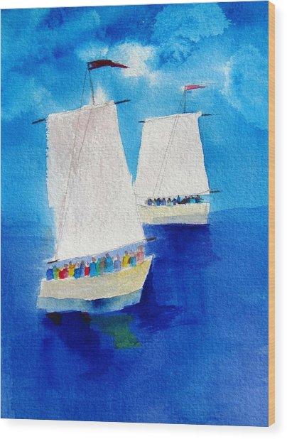 2 Sailboats Wood Print