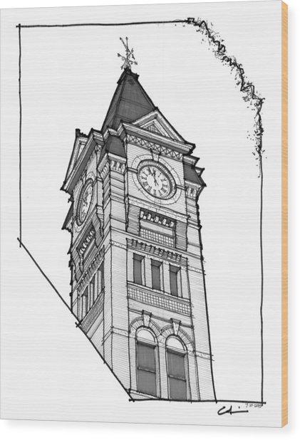 Samford Hall Clock Tower Wood Print