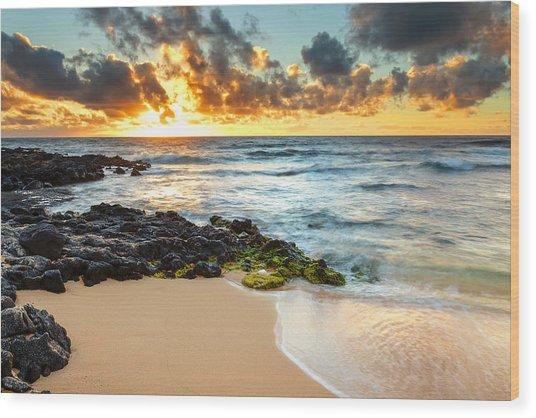 Sandy Beach Sunrise 7 Wood Print