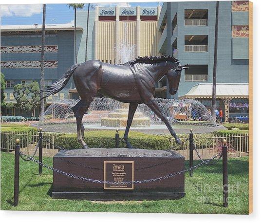 Santa Anita Race Track Statue Of Zenyatta Wood Print