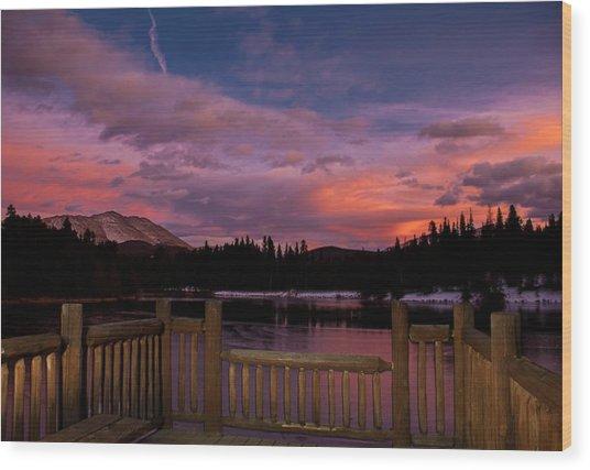 Sawmill Lake Sunset Wood Print