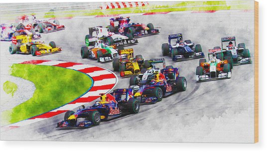 Sebastian Vettel Leads The Pack Wood Print