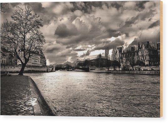 Sena River After Storm Wood Print