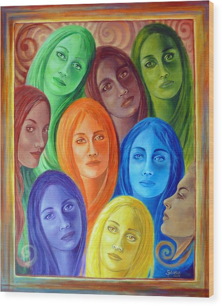 Serene Sisters Wood Print