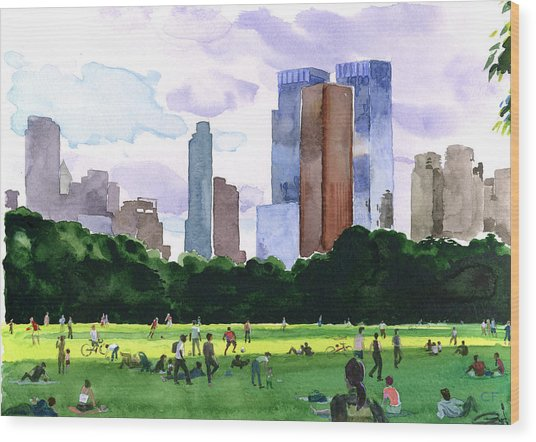 Sheep Meadow Wood Print