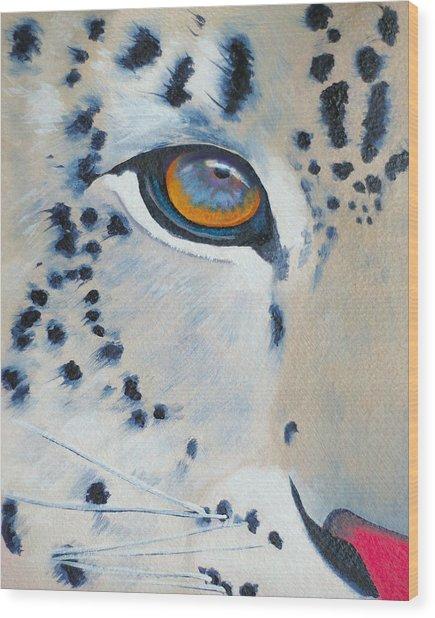Snow Leopard Eye Wood Print by John  Sweeney