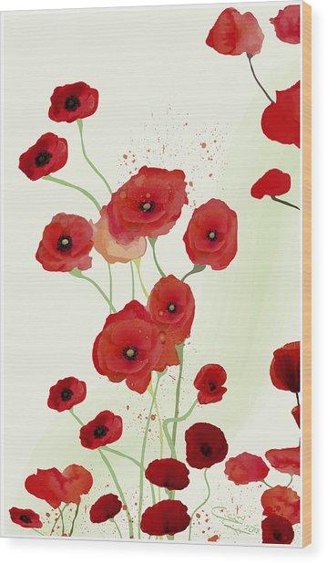 Sonata Of Poppies Wood Print