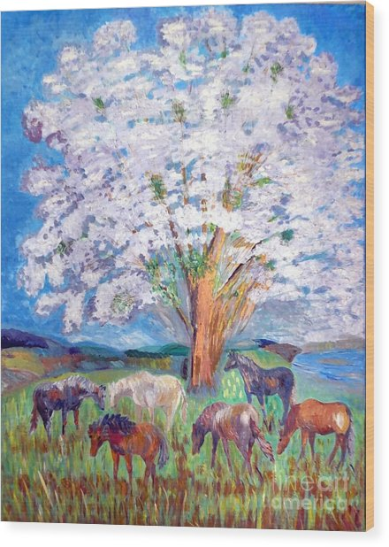 Spring And Horses 1 Wood Print