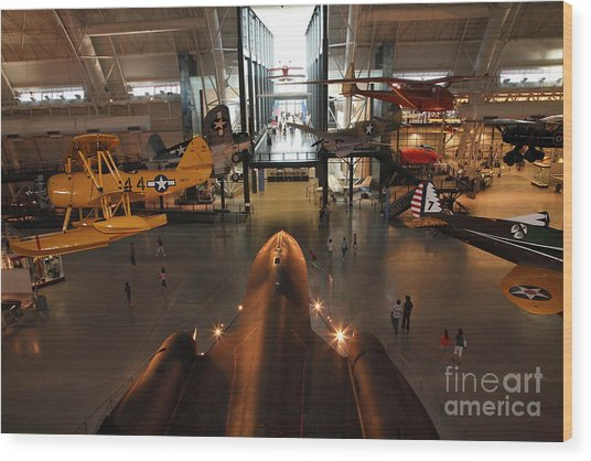 Sr71 Blackbird At The Udvar Hazy Air And Space Museum Wood Print