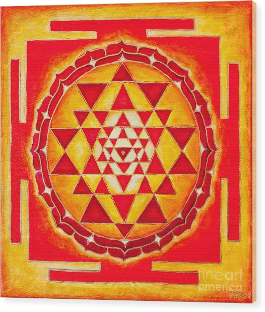 Sri Yantra For Meditation Painted Wood Print
