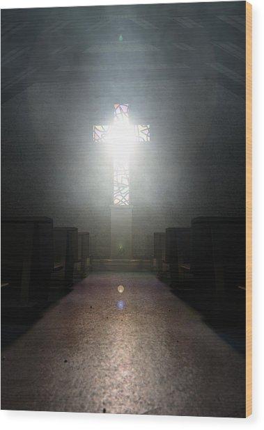 Stained Glass Window Crucifix Church Wood Print