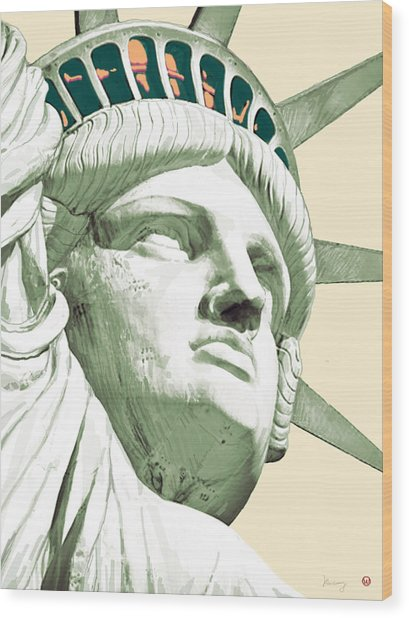 Statue Liberty - Pop Stylised Art Poster Wood Print