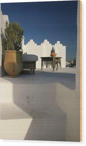 Still Life On A Roof Terrace Old Medina Tangier Morocco Wood Print by PIXELS  XPOSED Ralph A Ledergerber Photography
