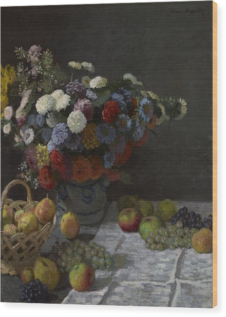 Still Life With Flowers And Fruit Wood Print