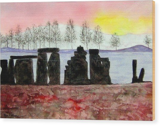 Stonehenge Wood Print by Roy Hyslop
