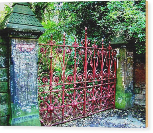Strawberry Field Gates Wood Print