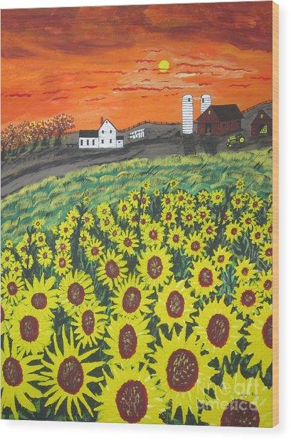 Sunflower Valley Farm Wood Print