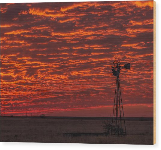 Sunset And Windmill Wood Print