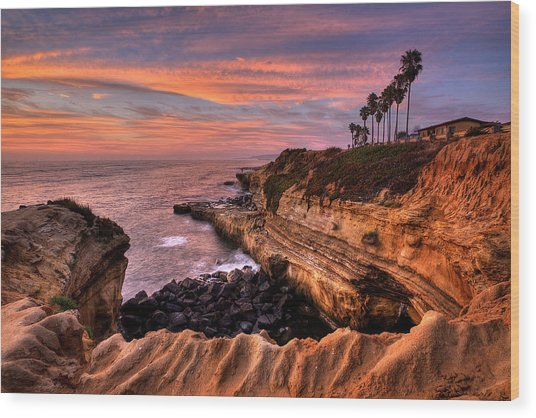 Sunset Cliffs Wood Print
