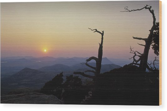 Sunset From Mt Scott Wood Print