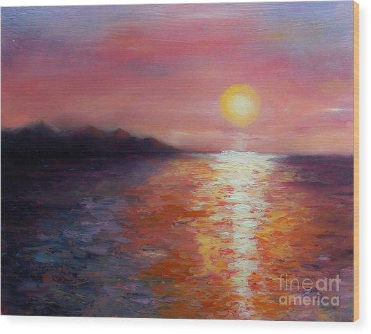 Sunset In Ixtapa Wood Print