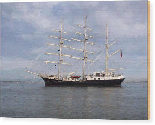 Tall Ship At Anchor Wood Print by Colin Porteous